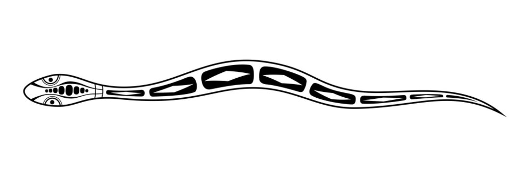 Snake. Aboriginal art style. Vector monochrome illustration isolated on white background.