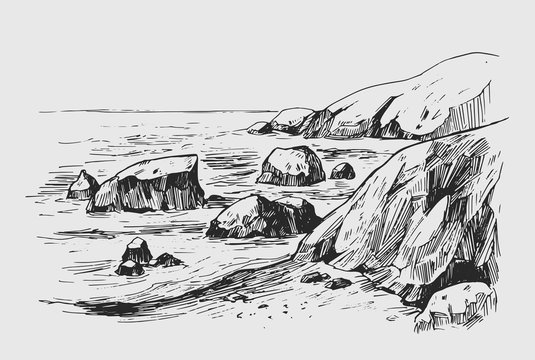 Sea sketch with rocks and mountains. Hand drawn illustration converted to vector