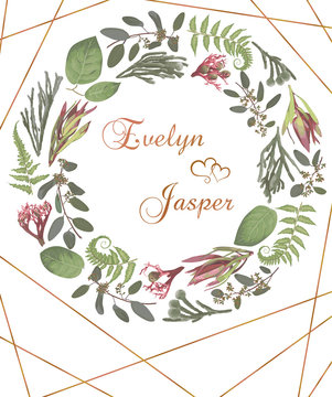 Green vector wreath frame flowers and leaves.Branches, brunia, eucalyptus, leucadendron, gaultheria, salal, jatropha. On white background with gold lines. For wedding invitations