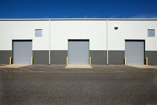 Closed doors at warehouse loading dock