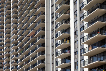 Close up of apartment building balconies