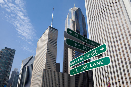 Close up of road signs on Chicago city street, Chicago, United States