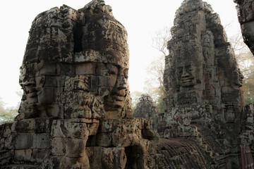 Ornate stone carvings, Angkor, Cambodia