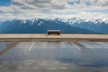 Park bench facing Hurricane Ridge, Olympic National Park, Port Angeles, Washington, United States