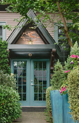 Archway over double doors of house