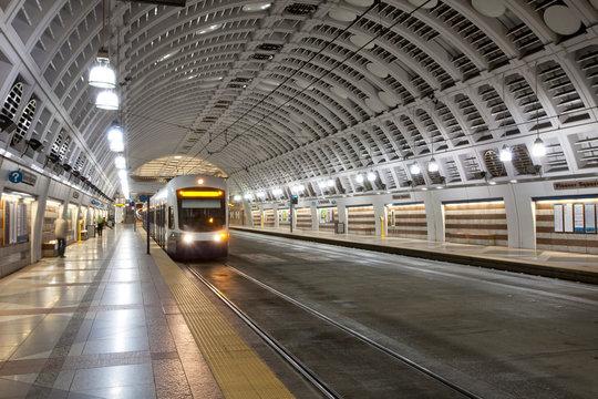 Train pulling into station, Seattle, Washington, United States