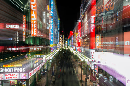 Long exposure shot of street in Tokyo at night, Japan