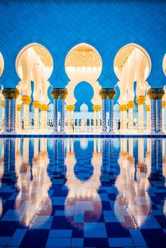 Ornate tiled arches of Grand Mosque, Abu Dhabi, United Arab Emirates