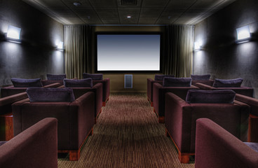 Empty chairs in luxury movie theater