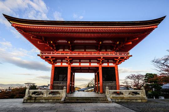 Entrance to Kiyomizu Dera under blue sky, Kyoto, Japan