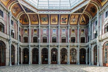 Ornate pillars in Stock Exchange Palace, Porto. Porto, Portugal