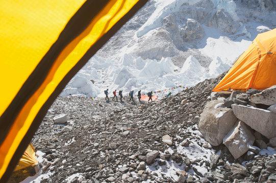 Hikers on snowy mountain, Everest, Khumbu region, Nepal