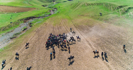 herd of horses view from drone Frightened horse stands on its legs during traditional game at Karakol festival in Tajikistan. It was scared byt goat carcass.