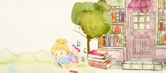 Bookstore. Watercolor illustration for children