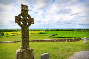 Celtic Cross over a Field in Ireland