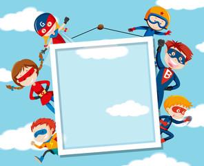 Superhero on on sky frame
