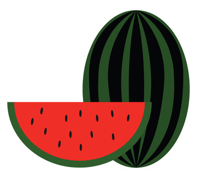 Clipart of a big watermelon and a slice of watermelon vector or color illustration