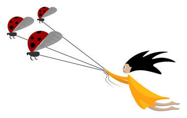 Cartoon funny picture of a girl pulling the three ladybugs tied to individual strings vector or color illustration