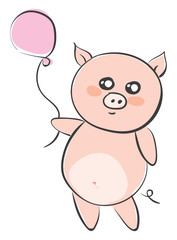Drawing of a cartoon pig holding a pink balloon vector or color illustration