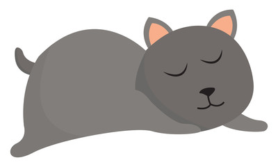 Clipart of a grey cat sleeping set on isolated white background vector or color illustration