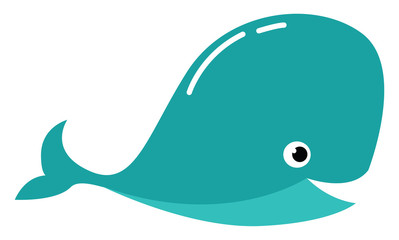 Clipart of a blue-colored whale with a white exclamation mark vector or color illustration