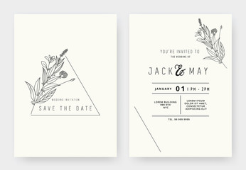 Minimalist wedding invitation card template design, floral black line art ink drawing with triangle frame on light grey