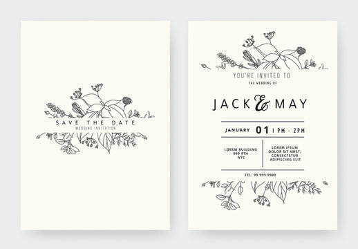 Minimalist wedding invitation card template design, floral black line art ink drawing with label on light grey