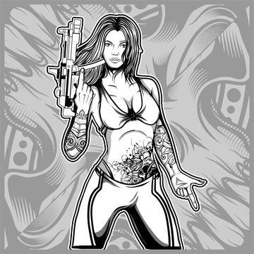 sexy woman holding a gun hand drawing vector