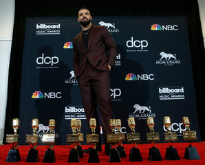 2019 Billboard Music Awards– Photo Room – Las Vegas, Nevada, U.S., May 1, 2019 – Drake poses backstage with his 12 awards to include Top Artist