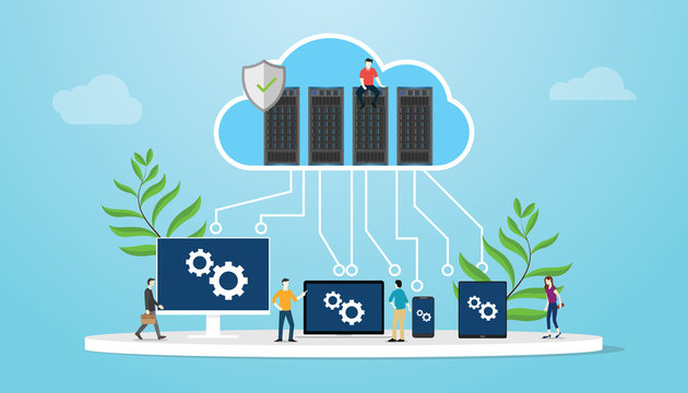 cloud computing concept with database server and various media platform laptop smartphone tablet and computer - vector