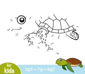 Numbers game, dot to dot game for children, Turtle