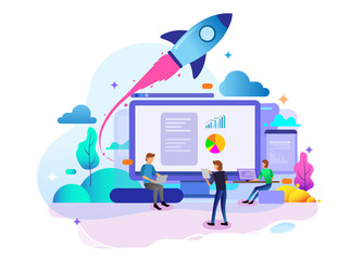Landing page design concept of Startup Business, business strategy, analytics and brainstorming. Vector illustration concepts for website design ui/ux and mobile website development. Wall mural