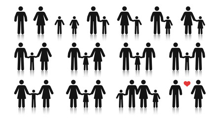 Stick figure family. Different relationships. Father, mother, son and daughter holding hands. Posture stickman. People icons set. Simple cute modern design. Flat style vector illustration.