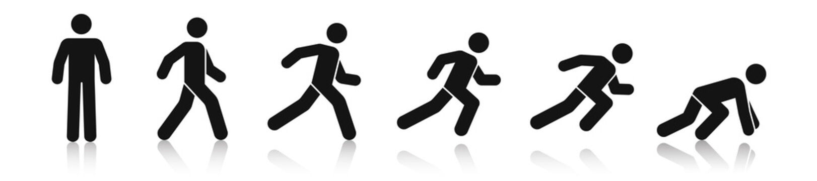 Stick figure walk and run. Running animation. Posture stickman. People icons set. Man in different poses and positions. Black silhouette. Simple cute modern design. Flat style vector illustration.