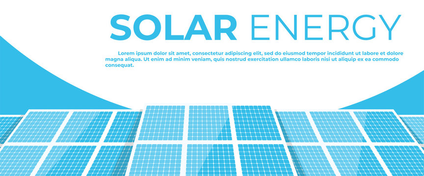 Solar energy panels. Solar batteries isolated on a white background. Clear modern design. Simple design, banner template. Beautiful background. Flat style vector illustration.