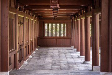 Wall Mural - wood pavilion walkway in Chi Lin Nunnery, Hong Kong