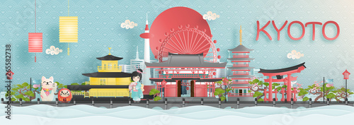 Fototapete Panorama view of Kyoto city skyline with world famous landmarks of Japan in paper cut style vector illustration.