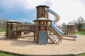 view of a beautiful wooden playground