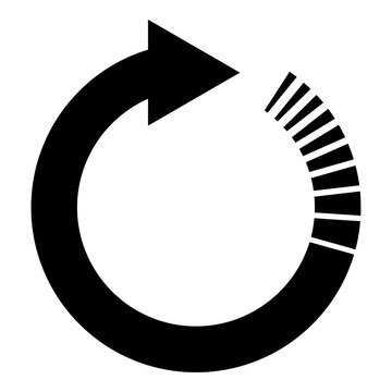 Circle arrow with tail effect Circular arrows Refresh update concept icon black color vector illustration flat style image