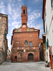 Sinalunga, Siena, Tuscany, Italy: the medieval Palazzo Pretorio in the old town