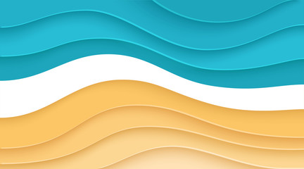 Beach paper cut background. Summer template. Banners, brochures or posters. Blue and yellow color. Simple realistic design. Beautiful background. Flat style vector illustration.