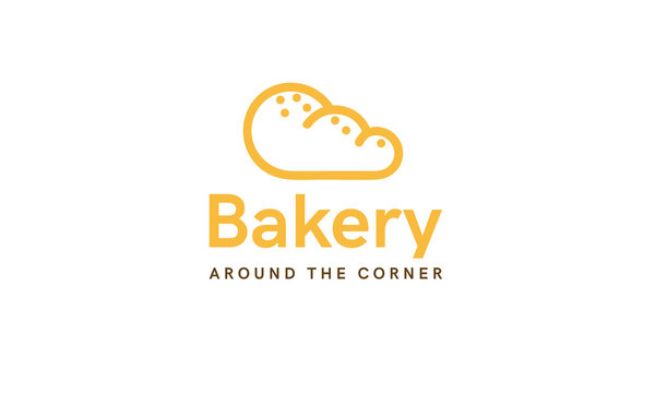 Bakery logo concept. Bread, bun, pastries. Beautiful branding template. Simple modern design. Yellow color. Isolated on a white background. Flat style vector illustration.