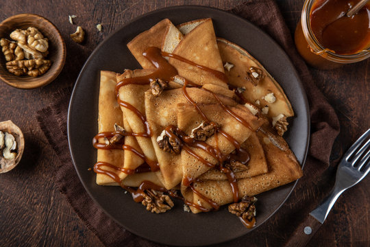 crepes with salted caramel and nuts