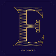 Shiny Gold Letter E. Graceful Royal Style. Geometric Beautiful Textured Design. Detailed Expensive Emblem for Logo, Brand Name, Business Card, Restaurant, Boutique, Crest, Hotel. Vector illustration