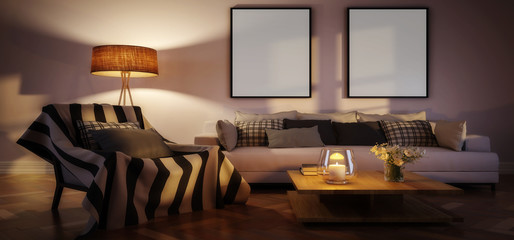 Modern living room interior with mockup frames by evening (panoramic) - 3d illustration