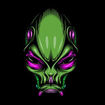 Alien portrait mascot. Vector illustration isolated on black background.