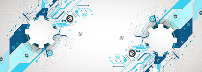 Wall Mural - Abstract technological background with various cogwheels. Vector illustration.