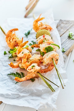 Gourmet seafood kebabs with spicy grilled prawns