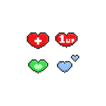 Pixel hearts game icon.8bit.