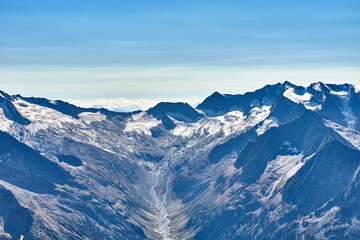 Mountain Range with glaciers in the Alps of Tux between Austria and Italy in Europe